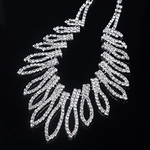 Santfe Set Joyas Tiara novia Corona de Boda De Novia De Color Blanco Cristalino Tiara Del Rhinestone Diadema Diadema Tocado cinta+collar + pendientes (4)