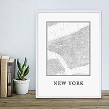 Poster mit Bilderrahmen Weiss 'New York Karte' 30x40 cm schwarz-weiss Motiv Landkarte Stadtkarte Map