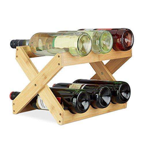 Relaxdays Weinregal Bambus, X Shape, 6 Flaschen, Landhaus-Stil, klein, Flaschenregal faltbar, HBT 22 x 36 x 20 cm, natur