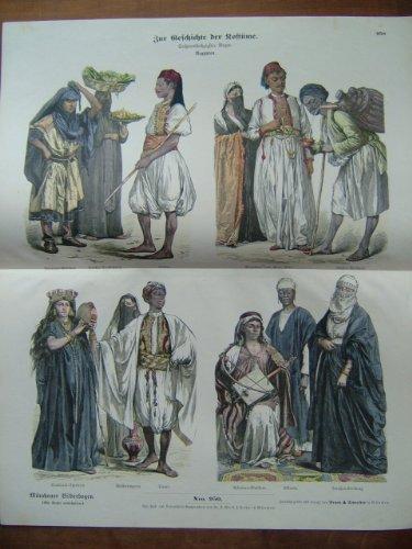 Münchener Bilderbogen, Nro. 950 - Zur Geschichte der Kostüme - 66. Bogen - Ägypten - 43 x 34 cm - colorierter Original-Holzstich