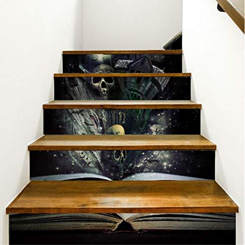 Wangxuan6 3D Treppen Aufkleber Halloween Treppen Aufkleber Boden Wandtattoo Aufkleber Wohnzimmer Dekoration
