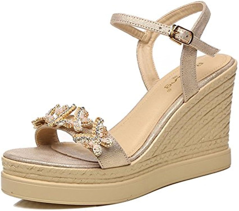 GAIHU Zapatos sandalias de 9cm, Verano, pendiente con agua dulce para los rhinestone Word