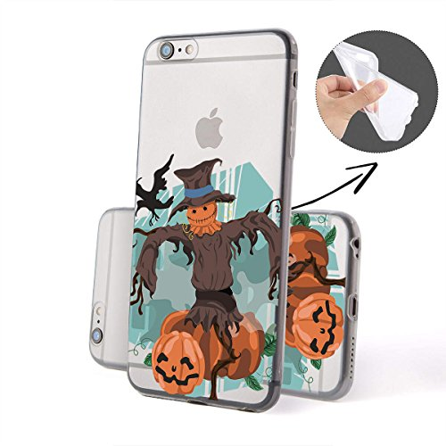 finoo |Iphone 6/6S Weiche flexible lizensierte Silikon-Handy-Hülle | Transparente TPU Cover Schale mit Halloween Motiv | Tasche Case mit Ultra Slim Rundum-schutz | Zombie Mädchen Vogelscheuche