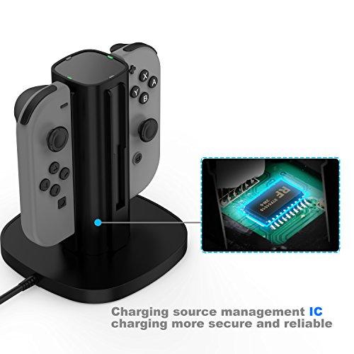 GameWill-Nintendo-Switch-Joy-Con-Charging-Dock-Caricatore-per-Joy-Con-per-4-controller-Joycon-nero