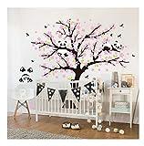 Sayala 3 Pandas Mignons Prune Rouge Fleur Stickers Muraux/Autocollant Arbre mural pour Décorer Chambres d'enfants, Garderie, Chambre Bebe (Rose)...