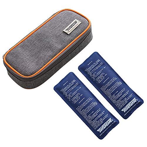 Insulin kühltasche, Diabetiker Tasche für Medikamente Diabetikerzubehör Thermotasche mit 2 Kühlakkus - Orange