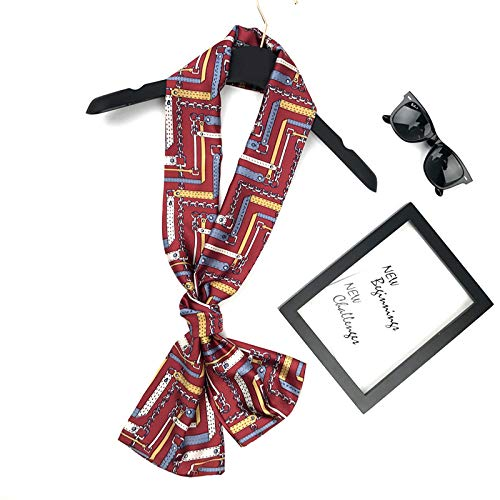 Kette, Seide Krawatte (YOUR LIFE Seidenschal Schal weiblich 4-Saison doppelseitige rechteckigen Schal Schals Krawatte Satin Bettwäsche Handtücher kleine rote Kette-74#)
