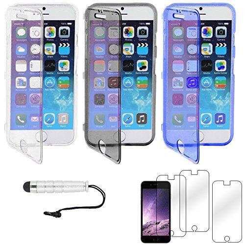 """ebestStar - pour Apple iPhone 6S 6 Plus écran 5,5"""" - Lot x3 Housse Etui Coque Silicone Gel Portefeuille + Mini Stylet tactile + 3 Films protection écran, Couleur Transparent, Violet, Rose [Dimensions  Transparent, Noir, Bleu"""