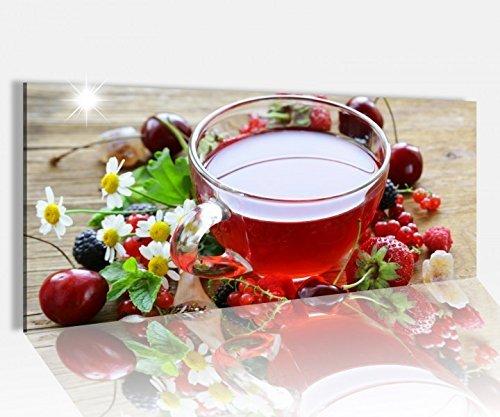 Acrylglasbild 100x40cm Tee Tasse Früchte Früchtetee Obst Beeren Küche Glasbild Bilder Acrylglas Acrylglasbilder 14A571, Acrylglas Größe1:100cmx40cm