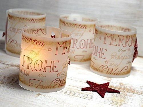 Set 6 x Tischlicht Weihnachten Vintage-Design Lichthülle für Teelicht oder LED Weihnachtsdeko Advent handmade