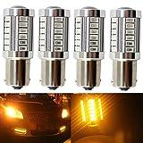 Katur 10 lampadine 1157 BAY15D 5630 33-SMD Amber 900, luminosità 8000K, a LED, per fanali e freno, 12V 3.6W