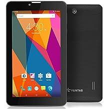 Yuntab 7 pulgadas Android 5.1 3G desbloqueado smartphone tableta pc MTK8321 1,3 GHz Quad Core IPS 1024 * 600 capacitivo pantalla táctil google tableta 1GB + 8GB MID Phablet Pad 2800MHA batería con WIFI, GPS y bluetooth cámara dual (Negro)