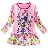 Yazidan Baby Mädchen warm Langarmshirt Kleider Floral Flower Princess Kleider Dress bunt Niedlich Kleinkind Sport Freizeit Kleidung Party Pageant Kleider Kinder Kleidung