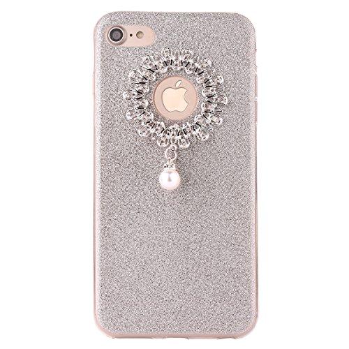"iPhone 7 Hülle, iPhone 7 Handytasche, CLTPY Ultradünn Weich TPU Schutzfall Shinning Glitzer Kristall Schale Etui für 4.7"" Apple iPhone 7 + 1 x Stift - Rosa Silber 2"