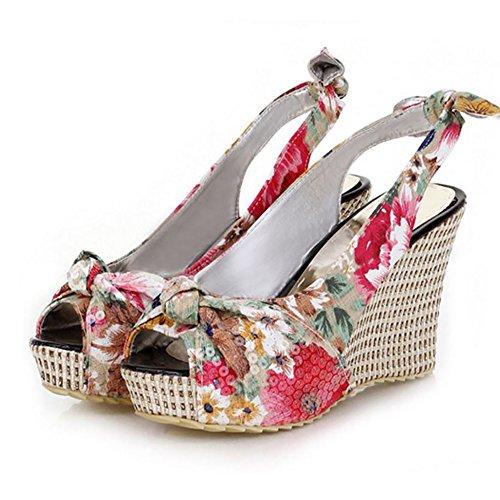 TAOFFEN Femme Mode Fleur Peep Toe A Enfiler Talons Hauts Compenses Sandales 756 blanc