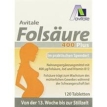 Avitale Folsäure 400 plus mit Vitamin B12 und Jod, 120 Tabletten im Klickspender, 1er Pack (1 x 7,8 g)