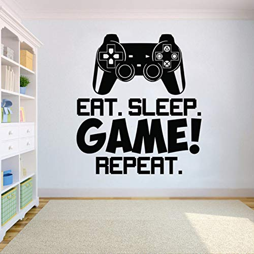Fushoulu 42X47 Cm Game Controller Video Wand Eat Sleep Spiel Wiederholen Wandkunst Kinderzimmer Dekor Vinyl Wall Poster Removable Wandbild Für Kindergarten