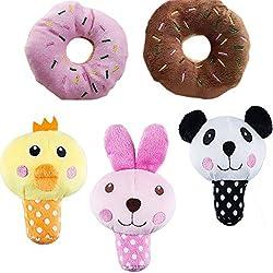 UEETEK Perro chirriante Juguetes para perros pequeños Alimento Animal Peluche Puppy Dog Toys (Un paquete de 5pcs)