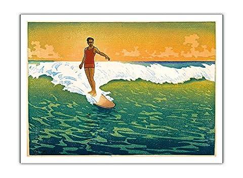 Le Duke Kahanamoku Surf, Hawaï 1918 - Vintage bois de
