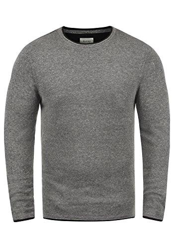 BLEND Odin Herren Feinstrick Pullover Strick-Pulli mit Rundhals-Ausschnitt aus 100% Baumwolle, Größe:XXL, Farbe:Pewter Mix (70817)