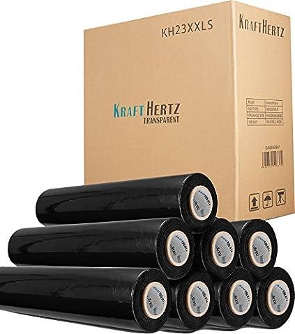 Krafthertz 8x Premium Rolls Hand Stretch Film 20my x 500mm x 300m Black 300m 6lb per roll–Super Plus