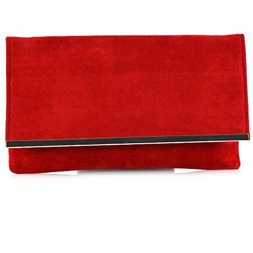 Essex Glam Donna Sera Busta Borsa Donna Partito Tracolla Ascellare Rosso Suede Imitazione Pelle Scamosciata