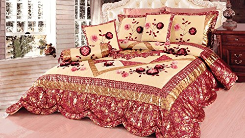 Tache 4–6 Stück Floral Rot und Gold Rose Garden Patchwork Tröster, Quilt Set, Polyester-Mischgewebe, Red, Crimson, Maroon, Ruby, Burgundy, Rose, Cherry, Gold, Multi, Pink, Queen