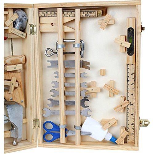 """Werkzeugkoffer """"Deluxe"""" aus Holz, mit 48 Teilen für kleine Heimwerker ab 8 Jahren, das passende Werkzeug für die notwendige Reparatur - 3"""
