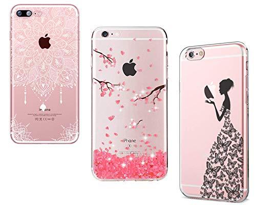 Homikon [3 Stück] Mandala Blume Bling Glitzer Diamant Rosa Cherry Blossom Schmetterlings Mädchen TPU Silikon Hülle Handyhülle Durchsichtig Schutzhülle Case Tasche Kompatibel mit iPhone SE/5S/5 (Iphone 5 Fällen, Tiere)