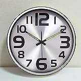 XIAOMEI Leise Genaue Wanduhr Leuchtend Qualität Runde Batterie betrieben Glasabdeckung Uhren Für Wohnzimmer Schlafzimmer-Silber 35cm(14inch)