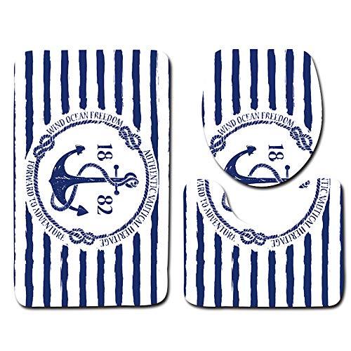 CHYSFHD Badematte 3 Stücke Kunststoff Bad Matte Sets Schaum Bad Bodenmatte Blau Und Weiß Streifen Anker Muster Carpet rutschfeste -