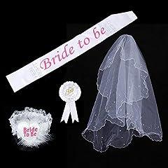 Idea Regalo - SwirlColor Un insieme di 4 nuziale Kit White Party sposa di essere partito di Sash giarrettiera Veil Badge