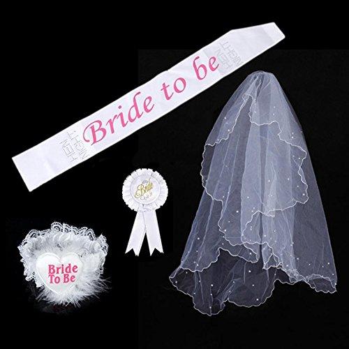 SwirlColor Un insieme di 4 nuziale Kit White Party sposa di essere partito di Sash giarrettiera Veil Badge