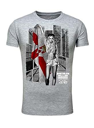 T-Shirt Herren Männer Fan Printshirt Fußball Europameisterschaft 2016 Girl Sexy Northern Ireland Nordirland