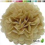 1 Papier Pompon 20cm ( gold 687 ) // PomPom Bommel Papier Kugel Seidenpapier Pompon Blumen Deko Hängedeko Raumdeko