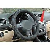 NIKAVI Car Steering Wheel Cover, Microfiber, Emboss Holes, Soft Padding Great Hand Feel, Anti-slip Matte Finish, 15 Inch Middle Size - Grey Line