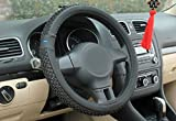 #10: Nikavi Car Steering Wheel Cover, Microfiber, Emboss Holes, Soft Padding Great Hand Feel, Anti-Slip Matte Finish, 15 Inch Middle Size - Blackline