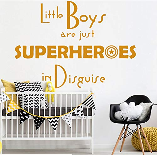 YANCONG Los Niños Pequeños Son Solo Superhéroes Disfrazados, Niños, Niños, Dormitorios, Sala De Juegos, Decoración, Vinilos De Pared, 77X56Cm