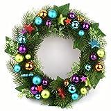 P.Shop Adventskranz Weihnachtskranz bunt Kugeln, Sterne, Tanne Ø 33 cm