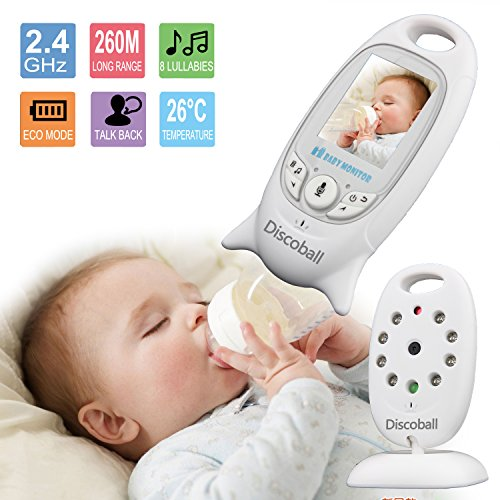 Discoball® 2.0 Inch Color LCD 2.4 GHz Digital Audio Video Security Baby Monitor 2 Way Talk Night Vision Alarm Sensor with Lullabies Temperature Talking Built-in Battery 51ANh IbGSL