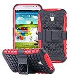 ECENCE Handyhülle Schutzhülle Outdoor Case Cover + Panzerfolie kompatibel für Samsung Galaxy S4 i9500 Handytasche Rot 43020203