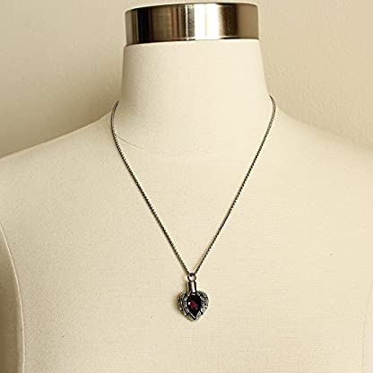 Zahara Pet Memorial Urn Necklace (20 Inches) with Velvet Pouch & Funnel | Angel Heart Amethyst Pendant + Chain 3