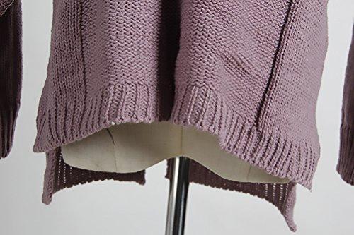 Donna Maglia Maglieria Elegante Manica Lunga V Scollo Con Tasca Con Spacco Tinta Unita Vintage Fashion Casual Autunno Inverno Maglie Maglioni Maglione Pullover Top Porpora