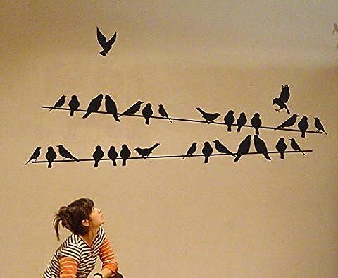 Oiseaux sur fil Alimentation lignes Sticker mural, noir bleu, 125cmx40cm