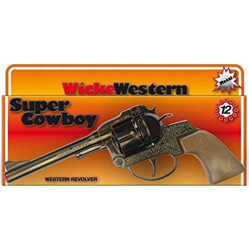 de4c20927110 NET TOYS Pistolet Super Cowboy 12 coups 230 mm marron revolver Texas colt  western flingue ranger