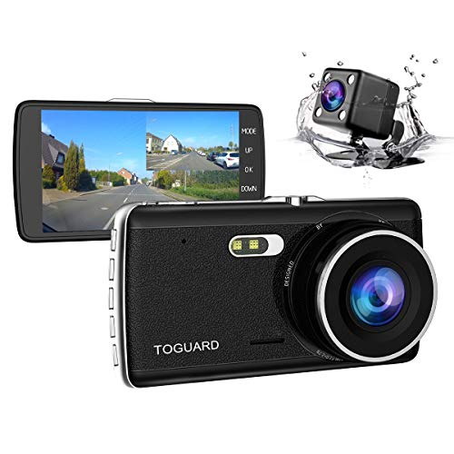 【Upgraded 720P Rear Cam】TOGUARD Full HD 1080P Dual Dash Cam 4.0 inch LCD Screen Car Dash Cam DVR, Front Camera and Rear View Cam, 170 Degree Wide Angle with Loop Recording, Parking Monitor, G-sensor