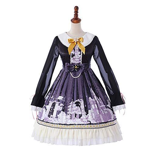 QAQBDBCKL Neue Frauen-Herbst-Lange Ärmel, Die Rüschen Druckt Nette Japanische Kawaii Süße Lolita Kleid-Großhandel