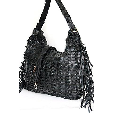 Shopper XXL de cuero con flecos, bolso de hombro / botín montaña pino, DIN A4 carpeta adecuada, (50 / 30 / 12) en negro,