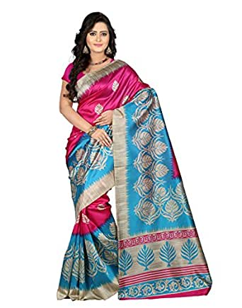 e-VASTRAM Women's Mysore Silk Without Blouse Piece Saree (Ns4A_Pink)