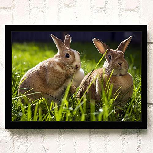 XWArtpic Schöne Haustier Wilde Kaninchen Blume Gras Niedlichen Häschen Ostern Cartoon Tier Kinderzimmer Wohnkultur Poster wandkunst leinwand malerei 60 * 80 cm